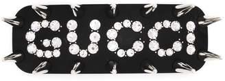 Gucci Studded Crystal Logo Hair Clip