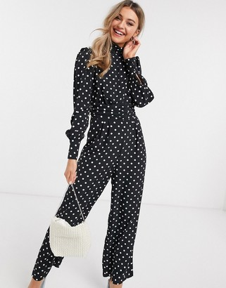 ASOS DESIGN ruched waist detail jumpsuit in spot print
