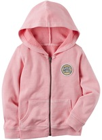 """Carter's Toddler Girl Good Vibes"""" Patch Zip-Up Hoodie"""