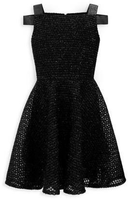 David Charles Girl's Cold-Shoulder Glitter Dress