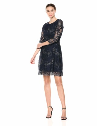 Gabby Skye Women's 3/4 Sleeve Lace A-Line Dress