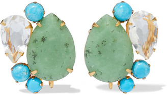 Bounkit 14-karat Gold-plated, Chrysoprase, Turquoise And Quartz Earrings
