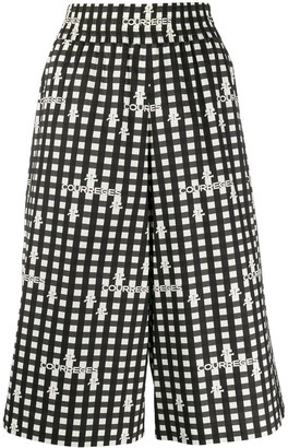 Courreges Over-The-Knee Length Check Shorts