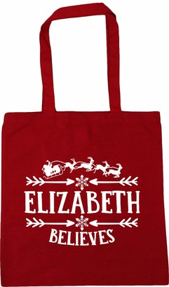 Hippowarehouse PERSONALISED Name Believes - Christmas Tote Shopping Gym Beach Bag 42cm x38cm 10 litres