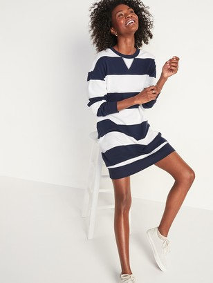 Old Navy Rugby-Stripe French Terry Sweatshirt Shift Dress for Women
