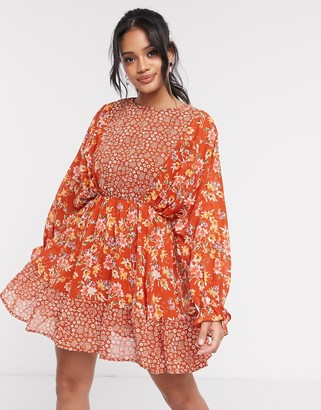 ASOS DESIGN mixed floral print mini skater dress with fluted cuffs