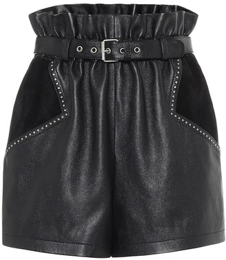 Saint Laurent High-rise leather and suede shorts