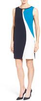 Ellen Tracy Colorblock Keyhole Shift Dress (Petite)