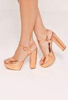 Missguided Platform Heeled Sandals Rose Gold