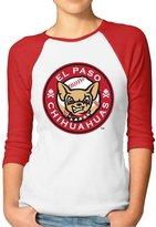 GWJEP 2016 MiLB Baseball El Paso Chihuahuas Girls 3/4 Sleeve Raglan Tee Shirts Cotton
