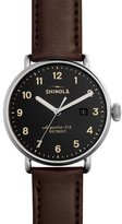 Shinola 43mm Canfield Leather Strap Watch, Red
