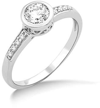 Swarovski Miore Ladies 925 Sterling Silver Elements Engagement Ring - Size P 1/2