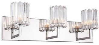 Rosendahl House of Hampton Bath 3-Light Vanity Light House of Hampton Bulb Type: Halogen, Shape Pattern: Cylindrical Grooved Crystal glass