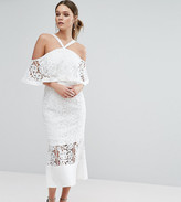 Jarlo Frill Layer Cold Shoulder Lace Midi Dress