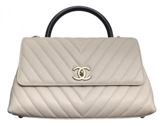 Chanel Coco Handle Beige Leather Handbags