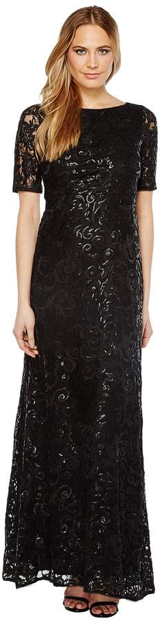 Adrianna Papell Stretch Tulle and Sequin Gown Women's Dress