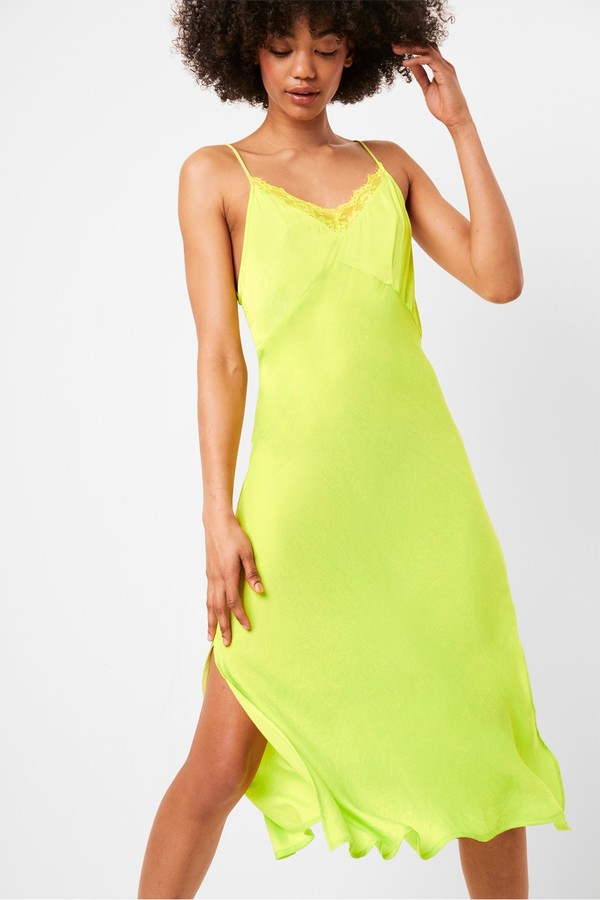 French Connection Andela Satin Neon Lace Trim Slip Dress