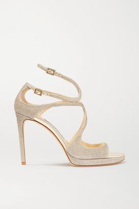 Jimmy Choo Lance 100 Glittered Leather Platform Sandals - Platinum