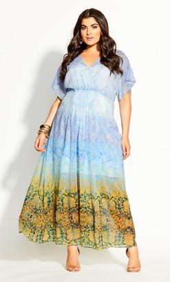City Chic Shanika Mirror Maxi Dress - sky