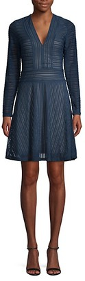BCBGMAXAZRIA Striped Long-Sleeve Fit--Flare Dress