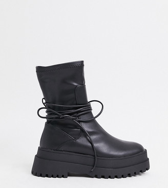 Public Desire Wide Fit Finale chunky flat ankle boots with tie in black