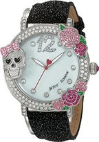 Betsey Johnson Women's Quartz Metal and Leather Casual Watch, Color:Black (Model: BJ00595-02)