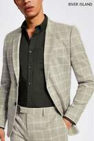 Mens River Island Summer Check Suit Jacket - Natural