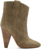 Isabel Marant Green Suede Roxann Ankle Boots