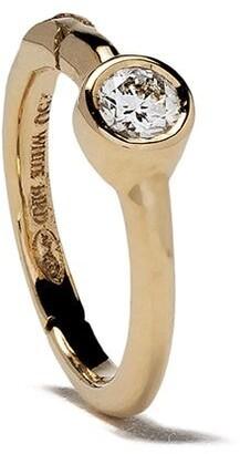 White Bird 18kt gold diamond Justine hoop single earring