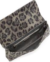 Lauren Merkin Caroline Leopard-Print Fold-Over Clutch, Gray