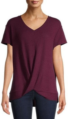 Time and Tru Women's Twist Knot T-Shirt with Short Sleeves