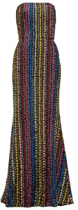 Mary Katrantzou Ava Flared Sequinned Gown - Womens - Black Multi