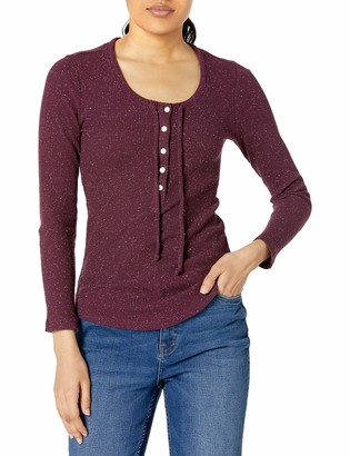 Lucky Brand Women's Long Sleeve Tie Neck Knit Henley Top