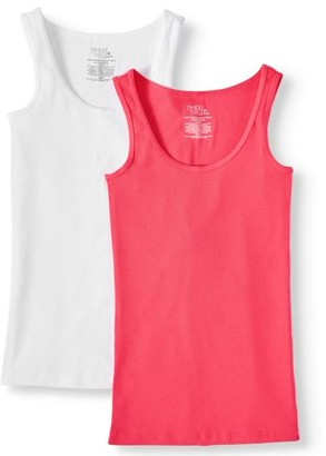 Time and Tru Women's Rib Tank Top, 2 Pack Bundle