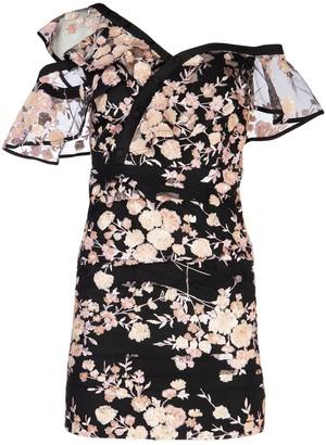 Self-Portrait Floral Sequins One-Shoulder Dress
