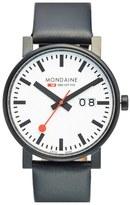 Mondaine '(Evo)lution - SBB' Leather Strap Watch, 40mm