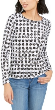 Charter Club Printed Pima Cotton Top, Created for Macy's