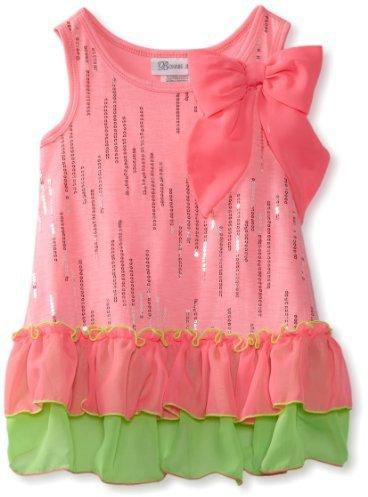 Bonnie Jean Girls 2-6X Neon Glitter Foil Dress