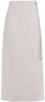 Gentryportofino Brushed Jute-blend Tweed Maxi Wrap Skirt