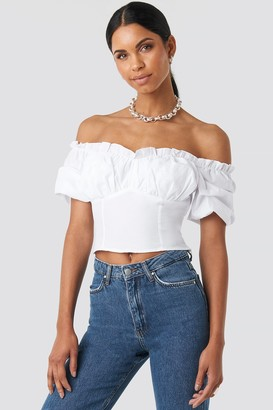 NA-KD Anna Nooshin X Off Shoulder Ruffle Cup Cropped Blouse Black