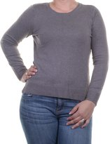 Alfani Afani Soid Zinc Womensarge Knit Ribbed Crewneck Sweater Gray