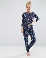 Asos Galactic Space Print Long Sleeve T-Shirt & Legging Pajama Set
