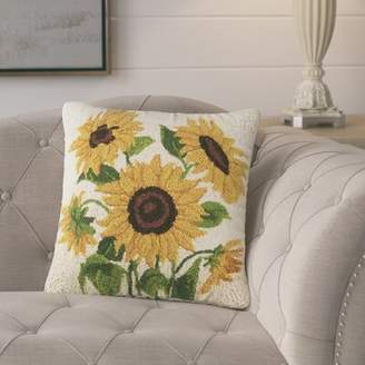 Laurèl Foundry Modern Farmhouse Jacobson Sunflowers Poppy and Sunflowers Hook 100% Wool Throw Pillow Foundry Modern Farmhouse