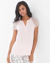 Soma Intimates Short Sleeve Popover Pajama Top Rose Quartz