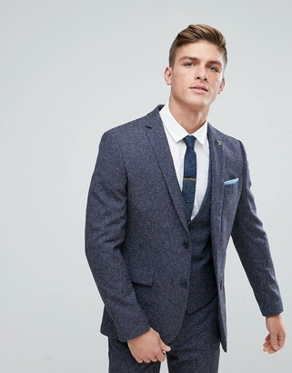 Farah Smart Skinny Wedding Suit Jacket In Navy Fleck