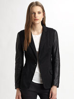 Cut 25 by Yigal Azrouel Leather-Sleeve Blazer