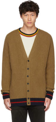 The Elder Statesman Tan and Navy Striped Cardigan