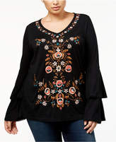 INC International Concepts Plus Size Embroidered Peasant Top, Created for Macy's