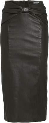 Veronica Beard Carlyn Bow Waist Leather Skirt