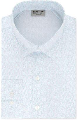 Kenneth Cole Reaction Men Techni-Cole Slim-Fit Three-Way Stretch Non-Iron Blue Print Dress Shirt